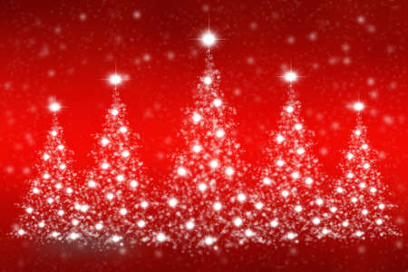 Christmas trees of snowflakes and sparkles on abstract background