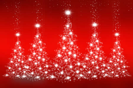 Christmas trees of snowflakes and sparkles on an abstract red background