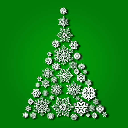Abstract Christmas tree of snowflakes on a green background - vector 版權商用圖片