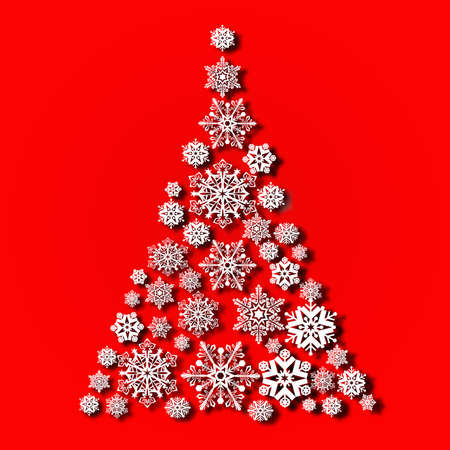 Christmas tree from snowflakes, casts a shadow on red background 版權商用圖片