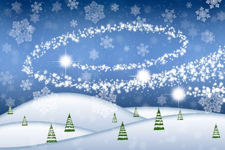 Abstract winter landscape with blue sky and snowflakes - illustration