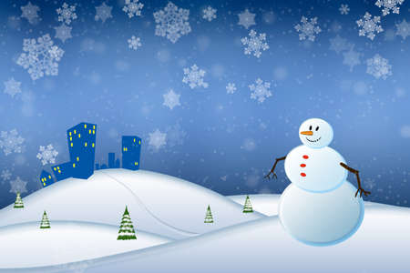 winter scene: Abstract winter scene with a snowman and snowflakes - illustration Stock Photo