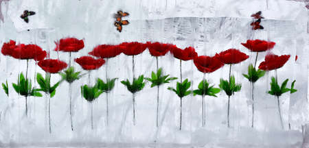 Bright red flowers and butterflies frozen into the ice -abstraction Stock Photo