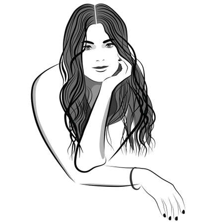 beauty care: The girl with long hair sitting with his face on his hand