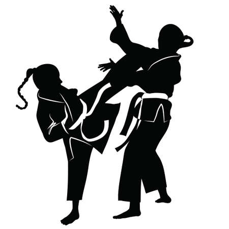 kumite: Silhouette of athletes involved in martial arts sparring- vector