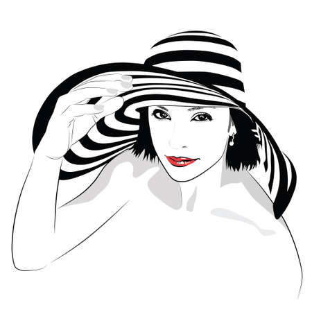 dark hair: The girl with dark hair in big striped hat - vector illustration