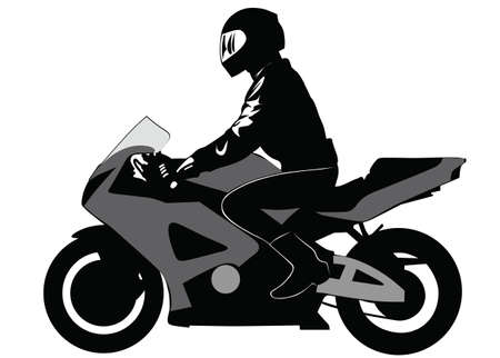 motociclista: Image of motorcyclist riding on a motorcycle - vector illustration