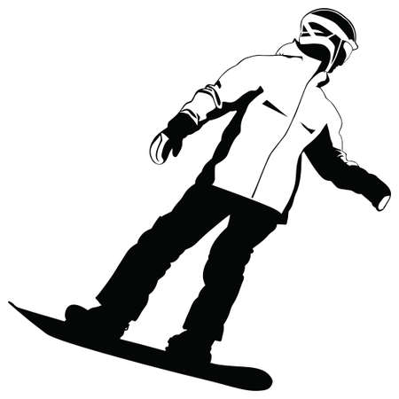 Black-and-white silhouette of the snowboarder going down the hill - vector illustration
