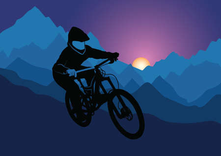 Silhouette of a racer descending on a bicycle on a mountainside against the background of the evening sun