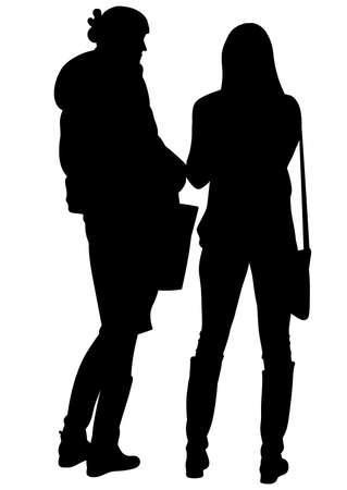 Silhouette of two stoyaschmh near and conversing women - vector Illustration