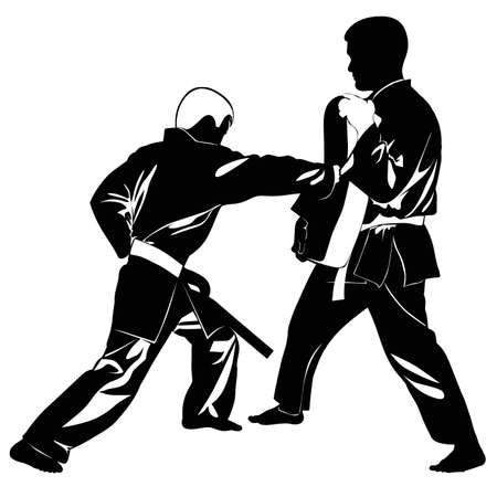 Image of martial arts athletes who practice a hand stroke - vector