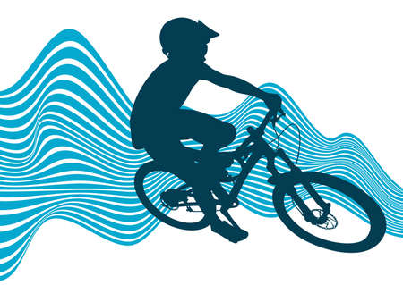 Silhouette of a biker descending on a mountain bike on a slope.