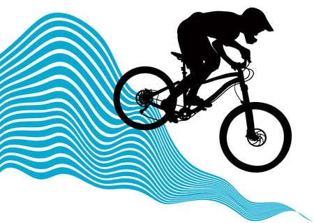 descending: Silhouette of a biker descending on a mountain bike on a slope.