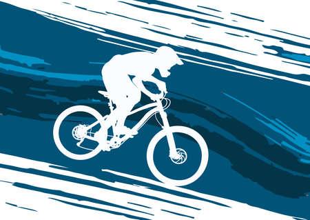 slopes: Silhouette of a biker descending on a mountain bike on a slope - vector illustration