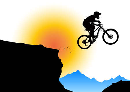 Silhouette of a biker jumping from mountain ledge with mountains in the background Illustration