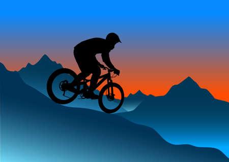 descending: Silhouette of a biker descending on a mountain bike on a slope - vector illustration
