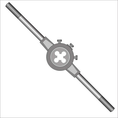 Die with holder - hand tool for threading on metal workpiece Illustration