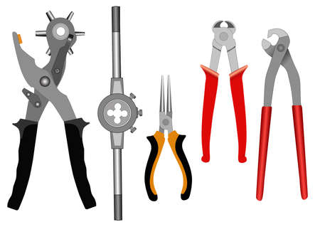 alicates: Conjunto de diferentes herramientas para un hogar sobre un fondo blanco de vectores