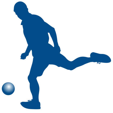 Silhouette of soccer player striking the ball - vector illustration