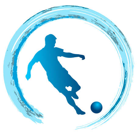 Silhouette of soccer player striking the ball - vector illustration