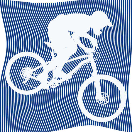 White silhouette of bicyclist on abstract blue background of curved lines