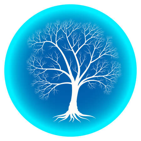Abstract winter tree with bare branches on a blue background -vector