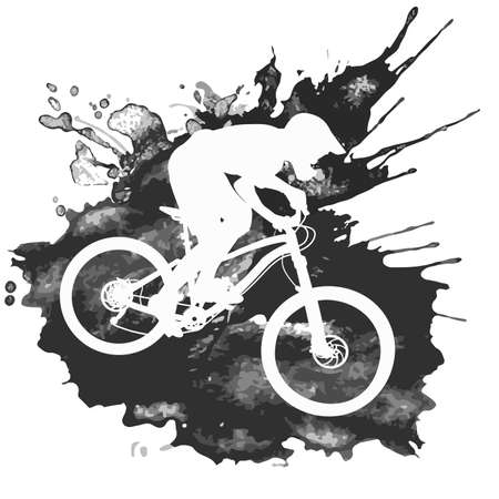 Silhouette of a biker descending on a mountain bike on a slope - vector illustration