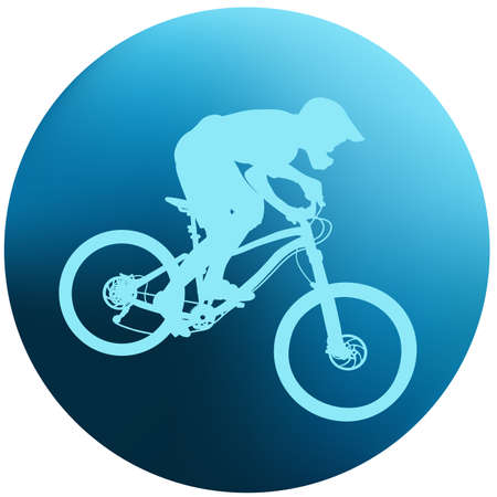 Blue silhouette of a cyclist Illustration