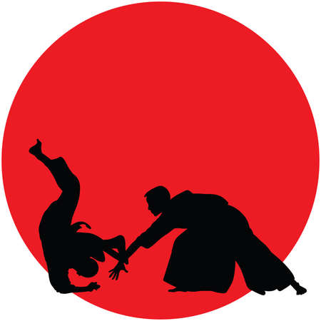 Silhouette of Aikido masters, leading the fight in training - vector