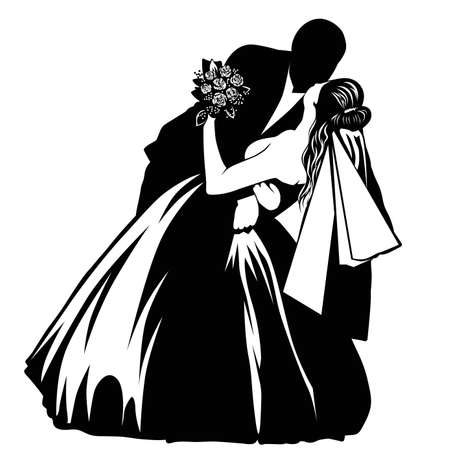 Silhouettes of bride and groom - Vector illustration.