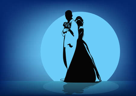 Silhouettes of the bride hugging the groom in the back against the background of the moon - vector