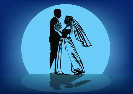 Contour Bild der tanzenden Braut und Bräutigam vor dem Hintergrund des Mondes -Vector