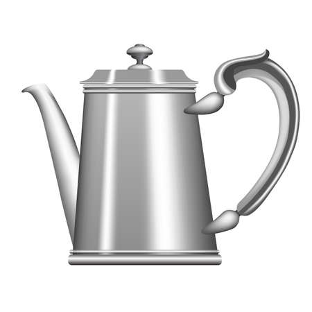 kitchen appliances: Old metallic teapot or coffee pot isolated on white background.