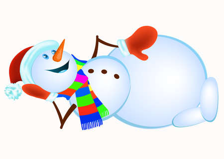 mitten: Lying Snowman in red mittens and striped scarf on white background - vector