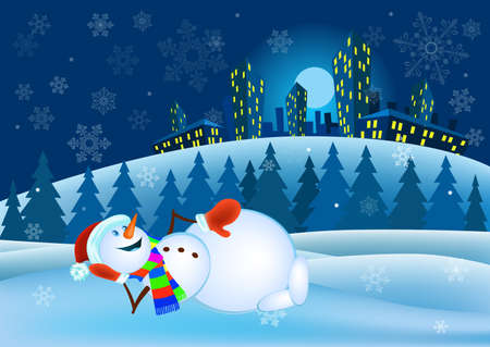 mitten: Snowman in red mittens and striped scarf on winter background - vector