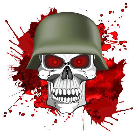 血まみれの背景に軍ヘルメットで人間の頭蓋骨の抽象的なイメージ。