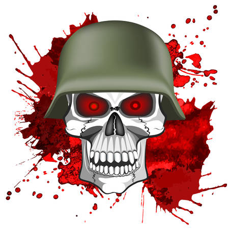 Abstract image of a human skull in an army helmet on a bloody background. Ilustração
