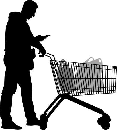 Silhouette of men with shopping trolleys