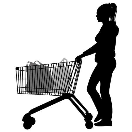 Silhouettes of woman with shopping trolleys - vector Illustration