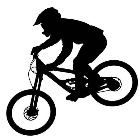 Silhouette of a cyclist going down on a mountain bike on a slope - vector Çizim