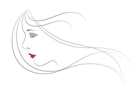 A girl with closed eyes and hair flying in the wind Vector illustration. Illusztráció
