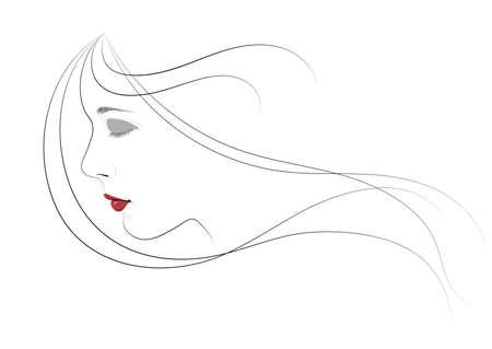 Una niña con los ojos cerrados y el pelo volando en el viento Ilustración vectorial. Foto de archivo - 90373096