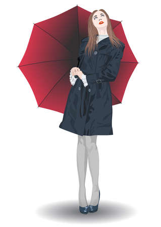 A girl in a raincoat and with a red umbrella looks at the sky - vector Illustration