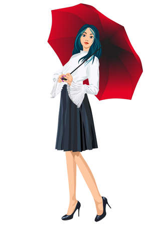 Picture of a girl with blue hair standing.