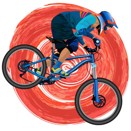 An image of a cyclist on a mountain bike on a red background - vector