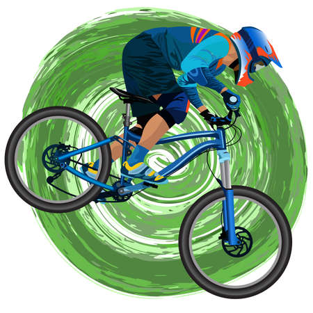 An image of a cyclist on a mountain bike illustration.