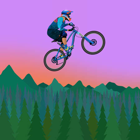 Image of a cyclist on a background of mountains and evening sky illustration. Vettoriali