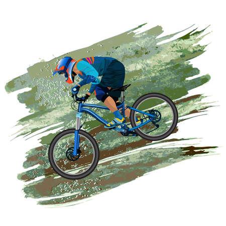 une image d & # 39 ; un cycliste descendant sur un vélo de montagne sur une pente - vecteur