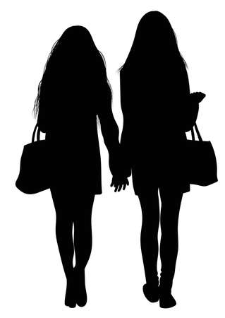 Silhouette of two walking girls holding hands - vector.