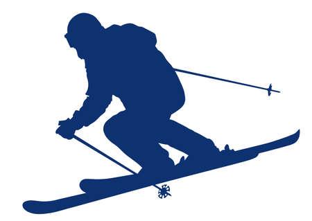 Blue silhouette of a skier descending the mountain slope - vector illustration